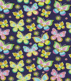 """Snuggle Flannel Fabric 42""""-Bright Butterfly"""
