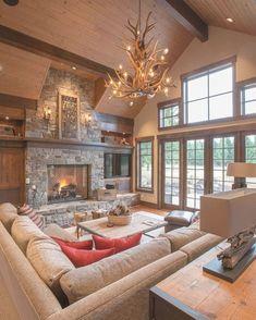 Modern Lodge, Modern Rustic, Modern Cabin Interior, Modern Cabin Decor, Modern Log Cabins, Cabin Interior Design, Chalet Design, Chalet Style, Rustic Contemporary