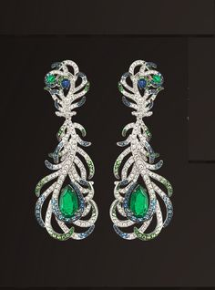 """Sapphire, Emerald and Diamond Feather Earrings from Gilan's """"Journey to Dreams"""" collection"""