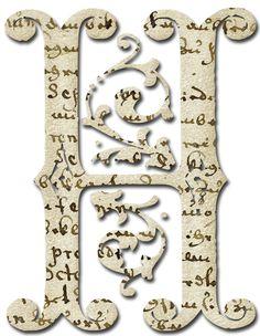 Alfabeto papel antiguo...H