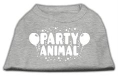 Mirage cat Products Party Animal Screen Print Shirt Grey Sm (10) *** Find out more details by clicking the image : Cat Apparel