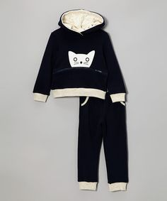 Cozy up in an outfit made for snuggling. An elastic waistband keeps things comfy, while an adorable zippered pocket hides a fish graphic and keeps fingers warm.