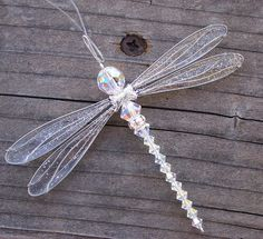 Suncatcher Dragonfly Small - Birthstones & 28 More Swarovski Colors -SILVER Toned Dazzlefly Beaded Dragonfly, Dragonfly Art, Dragonfly Necklace, Beaded Necklace, Swarovski Heart, Swarovski Crystals, Wire Crafts, Jewelry Crafts, Bead Crafts