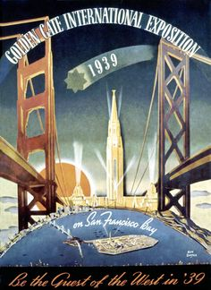 GGIE poster.     celebrating the recent openings of the Golden Gate and the Bay Bridge