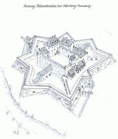 Fortress Bärenkasten near Oderberg Brandenburg www. Fantasy Castle, Fantasy Map, Star Fort, Wooden Castle, Castle Drawing, Germany Castles, Castle House, Fortification, Medieval Castle