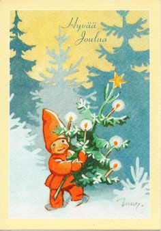 What a sweet face this little elfin baby has. might be a good model for a doll face. illustration by Martta Wendelin Vintage Christmas Cards, Retro Christmas, Xmas Cards, Vintage Cards, Vintage Postcards, Christmas Past, Christmas Angels, Christmas Greetings, Christmas Holidays