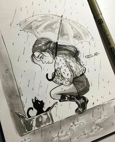 Idee dessin jeune fille dessin fille swag image de dessin d'une fille paraplui… Idea drawing girl drawing girl swag image drawing of a girl umbrella and kitten Girl Drawing Sketches, Cool Art Drawings, Pencil Art Drawings, Cat Drawing, Drawing People, Easy Drawings, Drawing Ideas, Drawing Rain, Drawing Girls