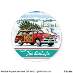 Woodie Wagon Christmas Gift Stickers