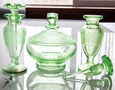 New to TheCordialMagpie on Etsy: Fantastic Cambridge Florentine? Green Depression Glass Vanity/Dresser Set with Puff Box and Two (2) Cologne/Perfume Bottles (125.00 USD)