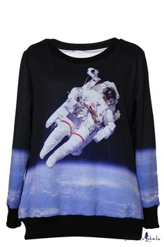 Astronaut Pattern Round Neck Long Sleeve Sweatshirt - Beautifulhalo.com