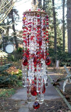 Radiant Ruby Antique Crystal Wind Chime by sheriscrystals on Etsy, $194.95