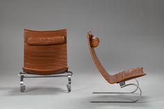 Pair of PK - 20 Poul Kjaerholm 1970   Designed 1968, matt-chromed spring steel frame and original leather. E Kold Christensen monogram stamped to frame. Produced by E Kold Christensen. h.91cm d.75cm w.80cm