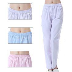 New Medical Clothing Summer Nurse Medical Blue Pink White Nurse Pants Elastic Waist Work Bottoms Twill Pants, Harem Pants, Short Outfits, Spring Outfits, Medical Scrubs, Womens Fashion For Work, Suits For Women, Pink White, Elastic Waist