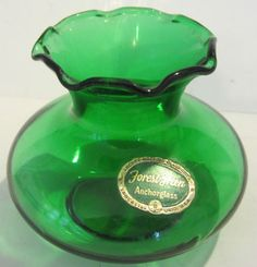Anchor Hocking Glass Corp Small Forest Green Vase USA