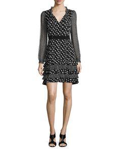 Fiona Daisy Buds Silk-Blend A-Line Dress, Black/White by Diane Von Furstenberg at Neiman Marcus.