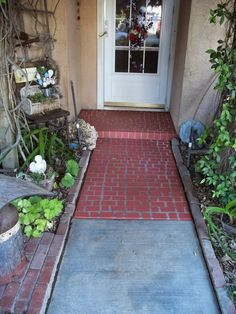 Faux Brick Walkway ~  Used a Mixture of Leftover Paints and a Sponge