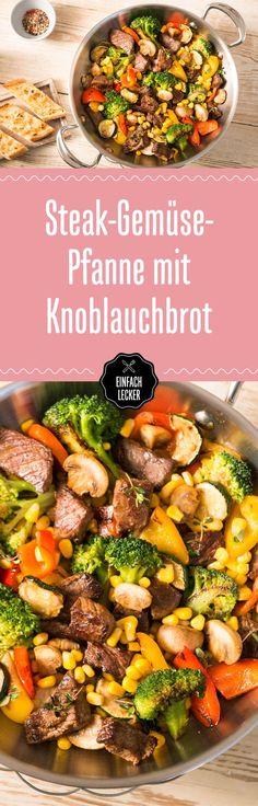 Bunt, bunter, unsere Gemüsepfanne mit Steak, Champignons, Paprika, Zucchini, Brokkoli, Kräutern und Gewürzen …