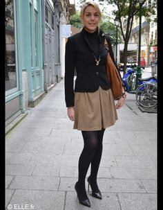 French working women #streetstyle - cute camel skirt