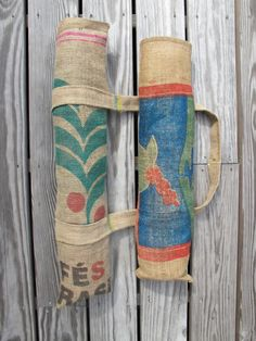 These yoga bags are made to carry a regular yoga mat. The material is burlap coffee sacks donated from Brooklyn coffee roasters and are from all
