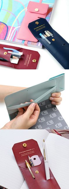 Ingenious! No more hassle to scrambling your bag to find your pen case, pen and notebook. Simply store your frequently used pens in this pen case, and attach the case to your planners, notebooks, scrapbooks and you are ready to write a note or draw!