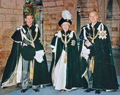 Queen Elizabeth II, Prince Philip and Prince Charles in their robes of the Order of the Thistle
