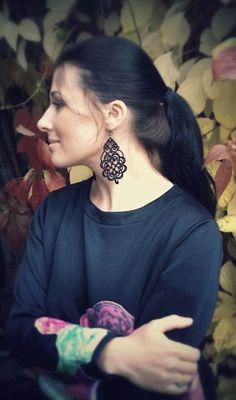 Soy de encaje negro pendientes negro con por TattingLaceJewellery