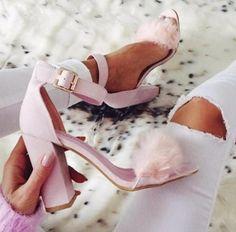 Celine nude faux suede block heels