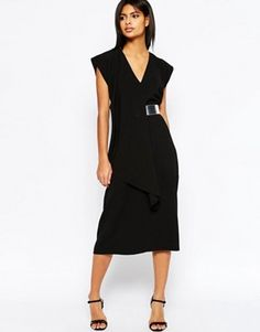 ASOS Asymmetric Contemporary Midi Dress With Belt