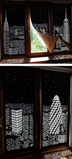 Shadow art // Window decor // decor ideas #retrohomedecor
