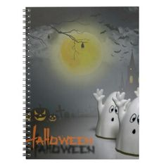 Make your ghoulsih Halloween plans with these ghostly journals and notebooks: Halloween Ghosts Notebook custom pumpkin party Notebook - click/tap to see the slideshow for related designs