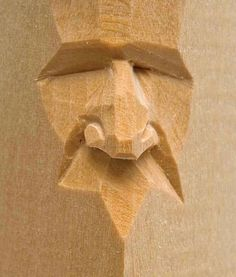 """Harold Enlow - Nose, from """"Carving Faces Workbook"""" (wood) 2011 . Harold Enlow – Nose, from """"Carving Faces Workbook"""" (wood) 2011 # Fac Wood Carving Faces, Wood Carving Designs, Wood Carving Patterns, Wood Carving Art, Wood Carvings, Whittling Projects, Whittling Wood, Chip Carving, Tree Carving"""
