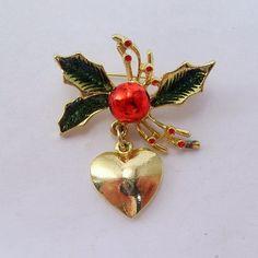 Vintage 1950's epoxy enamel holly leaf christmas by jewelry715, $8.00
