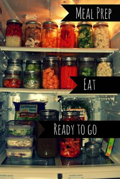 Weekly food prep. Glass jars keeps veggies fresher longer. Wash, chop, store with a little water to keep crisp.