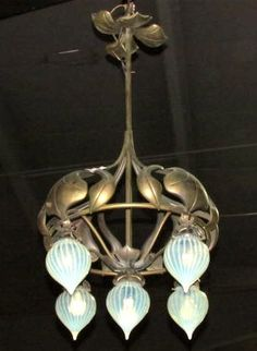 ART NOUVEAU CHANDELIER w/ OPALESCENT GLOBES : Lot 150