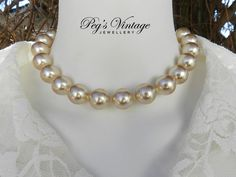 Large Ivory Knotted Faux Pearl Vintage Choker/Collar, Bridal Necklace by PegsVintageJewellery on Etsy