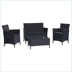 79066ed0814 4-Piece Patio Furniture Set in Outdoor Resin Wicker with Black Cushions
