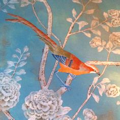 Wallpaper in the lobby bar of Hotel Cortesin, interior designed by the late Duarte Pinto Coelho.