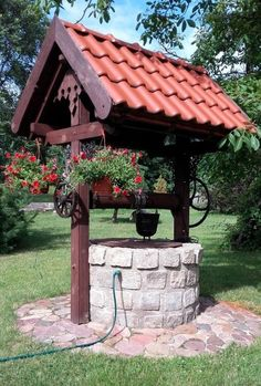 (notitle) - Wishing well - Garden Gazebo, Garden Fencing, Rustic Gardens, Outdoor Gardens, Outdoor Projects, Garden Projects, Wishing Well Garden, Garden Sink, Garden Deco