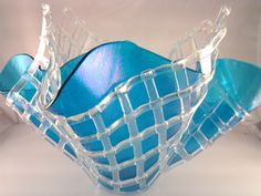 Fused Glass Vase, Iridescent Aqua Blue with Layered Lattice Glass Vase, Iridescent Glass Sculpture by AngelasArtGlass on Etsy https://www.etsy.com/listing/179217842/fused-glass-vase-iridescent-aqua-blue