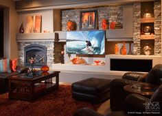 Custom media wall design, home entertainment center design, and A/V sales/services in Phoenix. Original design/build services inspired by your vision. Living Room Tv Unit, Living Room Decor, Custom Fireplace, Gas Fireplace, Fireplaces, Fireplace Design, Home Design, Wall Design, Karton Design