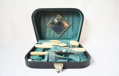 This is a magnificent Victorian woman's manicure set.   This antique woman's travel set or vanity set is in near perfect condition, from the outside box to the mirror to th... #vintage