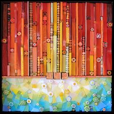 """""""Oasis"""" - 6"""" x 6"""" Millefiori, glass, copper, foil and assorted beads"""