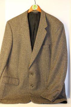 Burberry Wool Tweed Black Tan Sport Coat Jacket Blazer 2 Button Mens 48XLG #Burberry #TwoButton