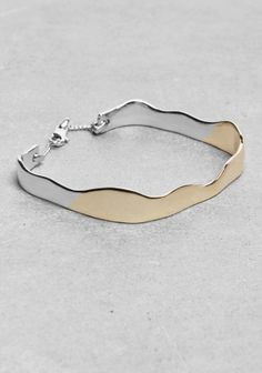 Wavy Square Bracelet - Silver and Gold Mixed Metal