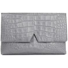 Womens Clutches Vince Grey Crocodile-effect Leather Clutch ($405) ❤ liked on Polyvore featuring bags, handbags, clutches, purses, leather purse, gray purse, grey handbags, grey leather purse and crocodile handbag