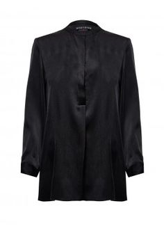 MANDARIN COLLAR LONG SLEEVE BLOUSE by Alice + Olivia