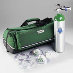 """Dyna Med Complete O2 Delivery System; contains All the Equipment Needed for Basic Adult Oxygen Therapy. Round oxygen bag features waterproof bottom, reflective striping, six inside pockets and a large outside pocket for grabbing """"most needed"""" items quickly. Also includes a strap for securing tank and padded flap to protect regulator. #Gear #Equipment #LawEnforcement #Police #EMS #EMT #FirstResponder #DynaMed"""