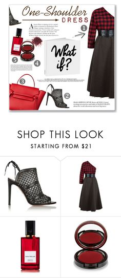 """O-S Dress"" by daha-mk ❤ liked on Polyvore featuring Aquazzura, A.W.A.K.E., Diana Vreeland Parfums, Kevyn Aucoin, red, dress, blackandred, OneShoulderDress and falltrend"