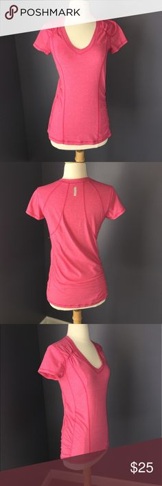 """Zella Activewear V-neck Fitted Knit Top Zella Hot Pink Fitted Active Wear V Neck Top with Soft Gathering on Each Side and at the Top Shoulders. 62% poly 33% cotton 5% spandex. 17"""" under the armpit. 16"""" across the hips. 25"""" from top to bottom. Very good preowned condition. Zella Tops Tees - Short Sleeve"""