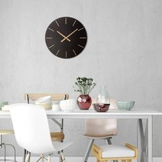 The sleek modern design and contrasting gold accents of this round wall clock create a classic statement piece with contemporary flair. Our Modern Minimalist Black and Gold Wall Clock features a sleek frameless clock face in a smooth black finish mea Minimalist Mirrors, Minimalist Wall Clocks, Modern Minimalist, Gold Wall Clock, Gold Wall Decor, Wall Clock Project, Target Wall Decor, Farmhouse Wall Clocks, Gold Walls